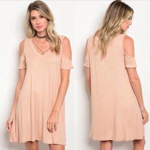 Soft Tan Cold Shoulder Dress